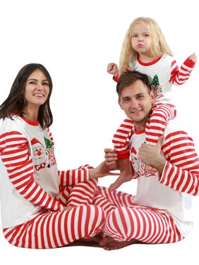 Fymall Christmas Family Parent-child Suit Stripes Home Service Cotton Pajamas