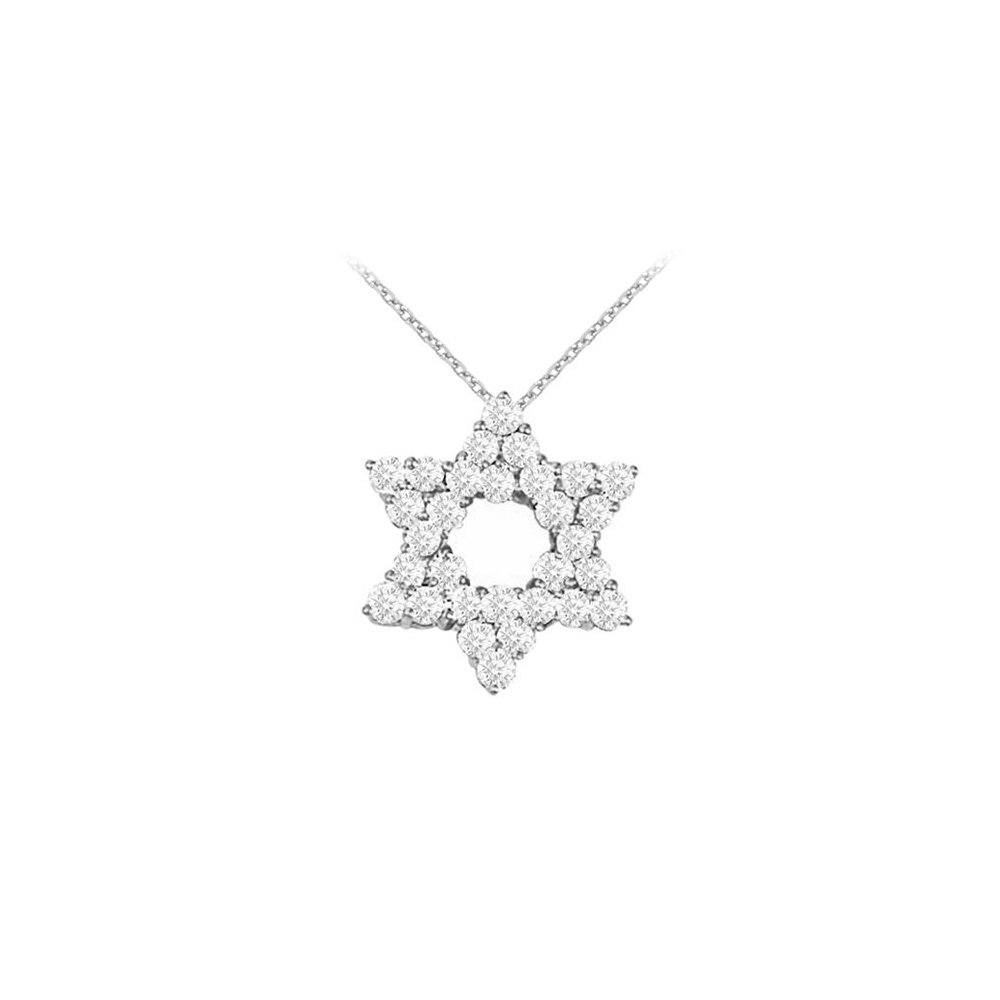 14K White Gold Diamond Star Pendant Necklace 1.50 CT TDW - image 2 of 2