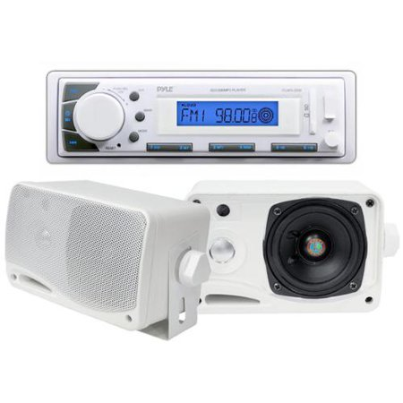 Pyle PLMR20W AM/FM USB/SD iPod AUX Receiver Stereo + 2) 3.5