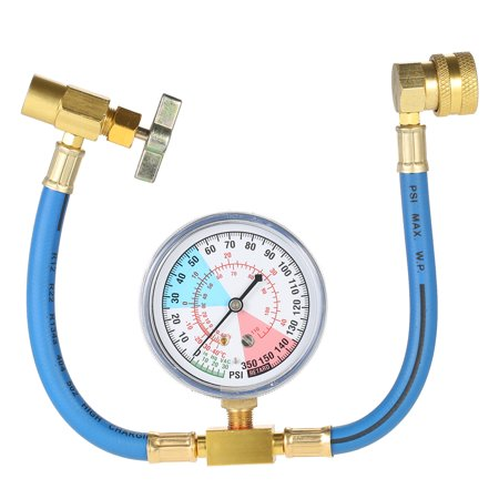 AC R134A Car Auto Air Conditioning Refrigerant Recharge Measuring Hose Gauge Kit M14 Thread ()