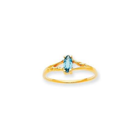 Roy Rose Jewelry 10K Yellow Gold Genuine Blue Topaz Birthstone Ring - Size: 6