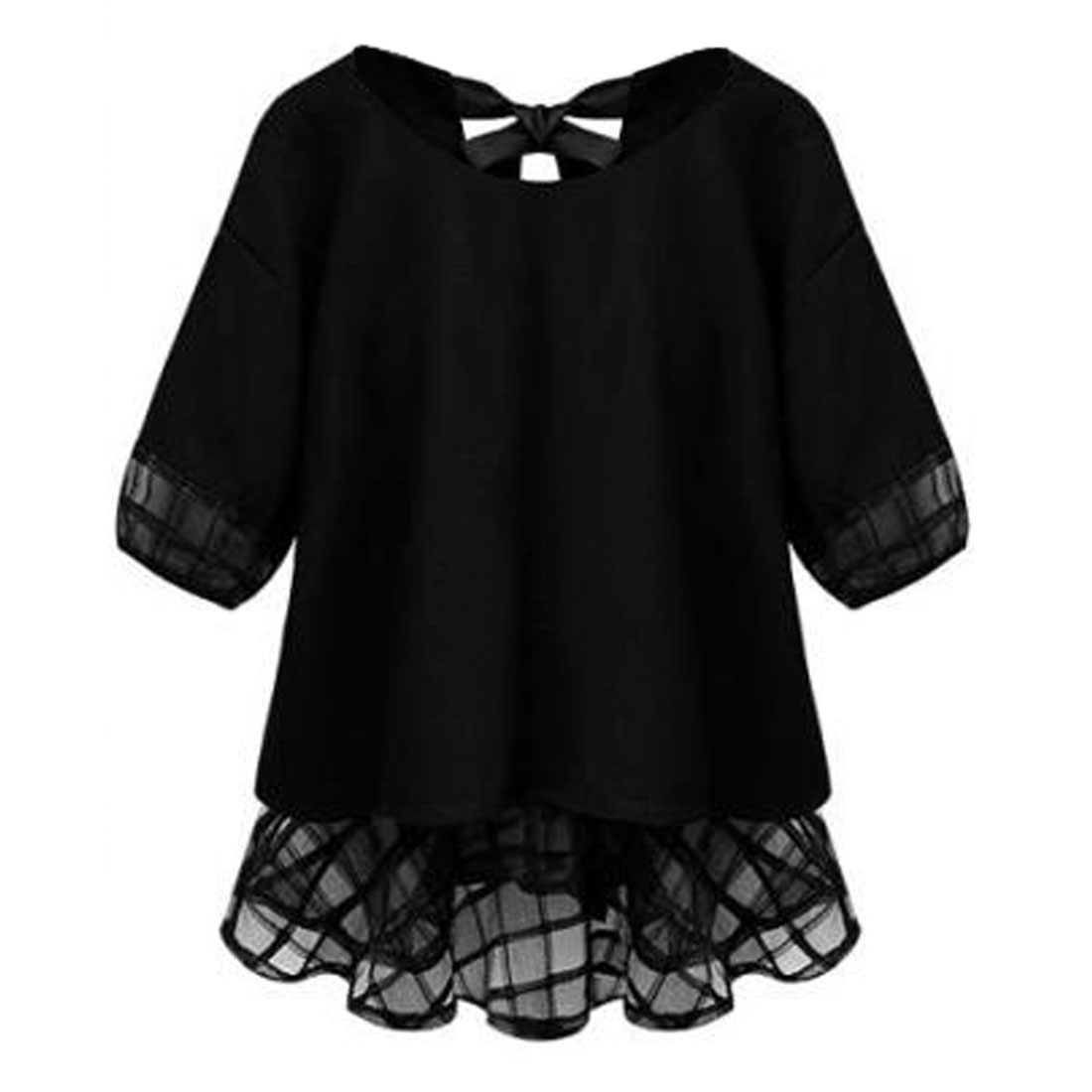 Allegra K Women's Round Neck Elbow Sleeves Semi Sheer Detail Chiffon Tops Black (Size S / 4)