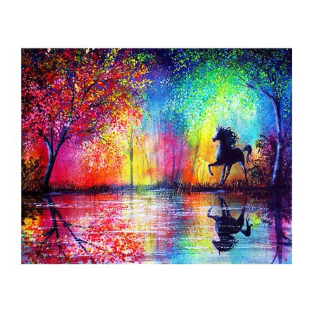 Girl12Queen 40x30cm DIY Attractive Colorful Tree Scenery Horse Resin Diamond Painting Craft for $<!---->