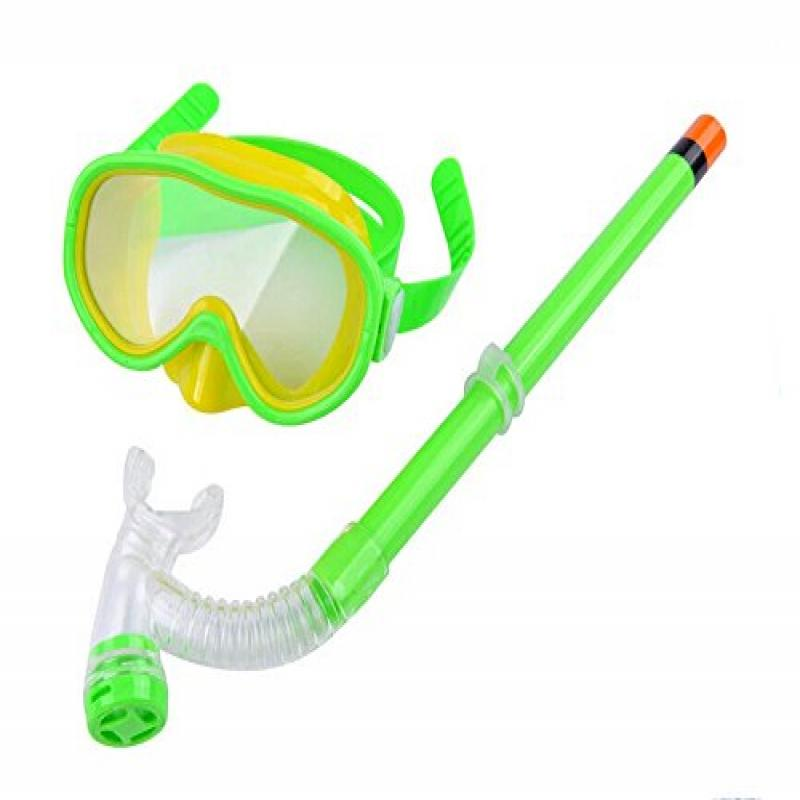 Anti-fog Kid Swimming Studying Goggles with High Quality Snorlel (For Age 2-13) (Green) by