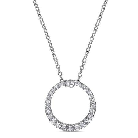 "Miabella 1/3 Carat T.W. Diamond Sterling Silver Circle Pendant, 18"""