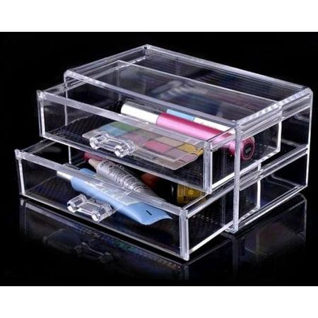 Luxury Acrylic Cosmetic Organizer Makeup Box 2 Drawers 1005-3***