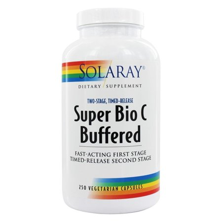 Solaray Super Bio C Buffered Vitamin C w/ Bioflavonoids | Timed-Release Formula for All-Day Immune Support | Gentle Digestion | 125 Servings, 250 CT