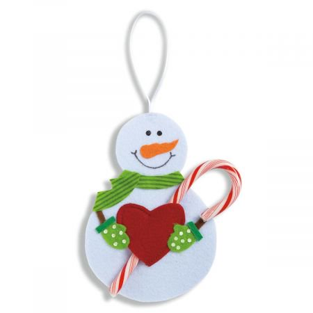 Snowman Candy Cane Holder- Christmas Tree Ornament, Set of 6