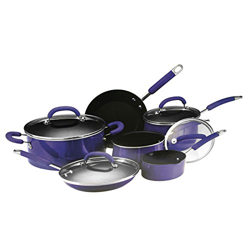 Rachael Ray 10 Piece Porcelain Enamel Cookware Set-Blue