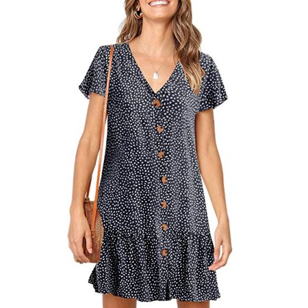 Womens Dot V Neck Polka Button Down Ruffles Loose Mini Short T-Shirt Dress