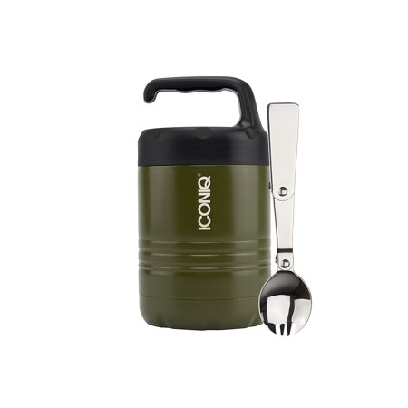 ICONIQ Qore Stackable Stainless Steel Insulated Food Jar with Fold-Out Spork 10 ounce   Foliage Green