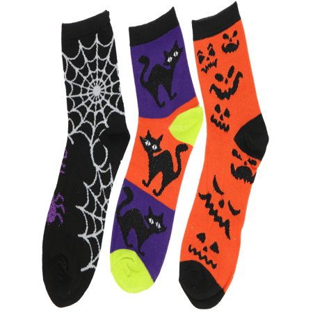 Boo! Women's Halloween Novelty Crew Socks (3Pr) (Spider, Black Cat, Pumpkin Faces) - Halloween Socks