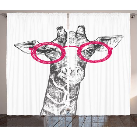 Giraffe  Curtains 2 Panels Set, Cute Hipster Animal Retro Fashion Round Glasses Summer Time Love Hand Drawn Style Print , Living Room Bedroom Decor, White Pink, by Ambesonne Giraffe Print Fashion
