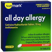 Sunmark All Day Allergy Cetirizine HCl Tablets, 10 mg, 14 Count