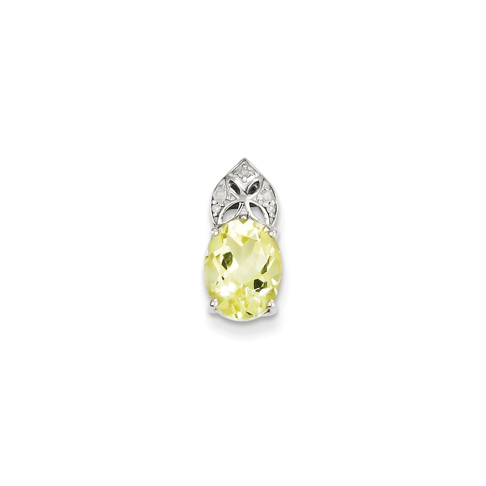 Sterling Silver Diamond & Lemon Quartz Oval Pendant