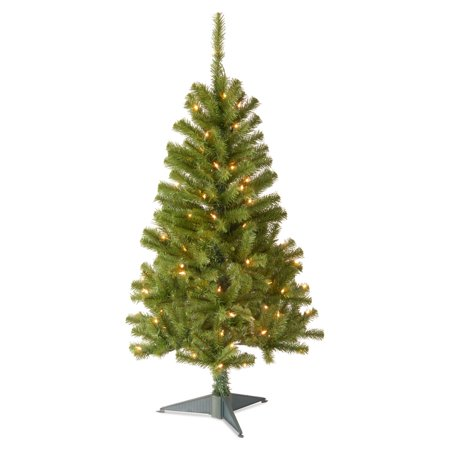 National Tree Pre-Lit 4' Canadian Fir Grande Wrapped Artificial Christmas Tree with 100 Clear