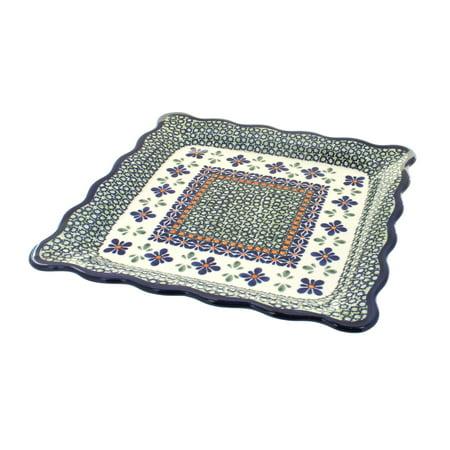 Metal Mosaic Plates - Polish Pottery Mosaic Flower Square Dinner Plate