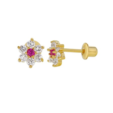 18k Gold Plated Clear and Pink Crystal Flower Screw Back Earrings for