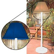Floor Lamp for Indoor & Outdoor Use, White with Pacific Blue Shade