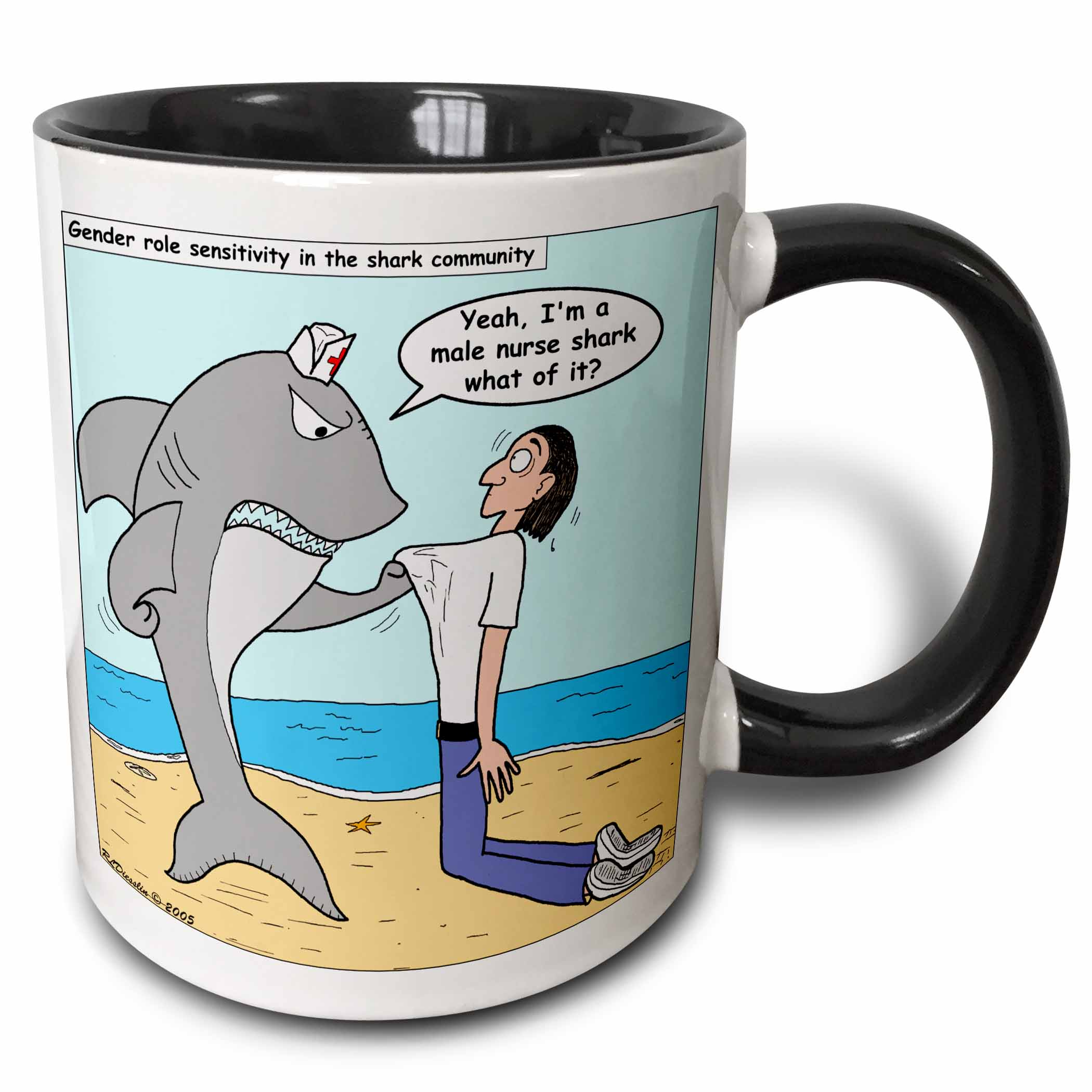 3dRose Male Nurse Shark - Two Tone Black Mug, 11-ounce