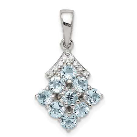 925 Sterling Silver Diamond Blue Aquamarine Pendant Charm Necklace Gemstone Gifts For Women For Her (Sterling Hc)