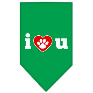 I Love U Screen Print Bandana Emerald Green Small