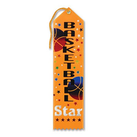 "Pack of 6 Golden Yellow ""Basketball Star Award"" School Award Ribbon Bookmarks 8"