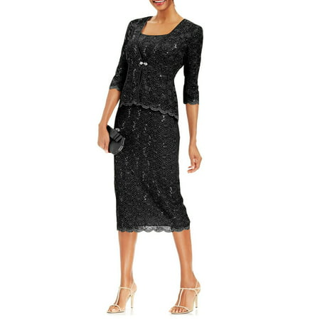 R&M Richards Womens 2 Piece Lace Swing Jacket Dress - Mother Of the Bride Wedding