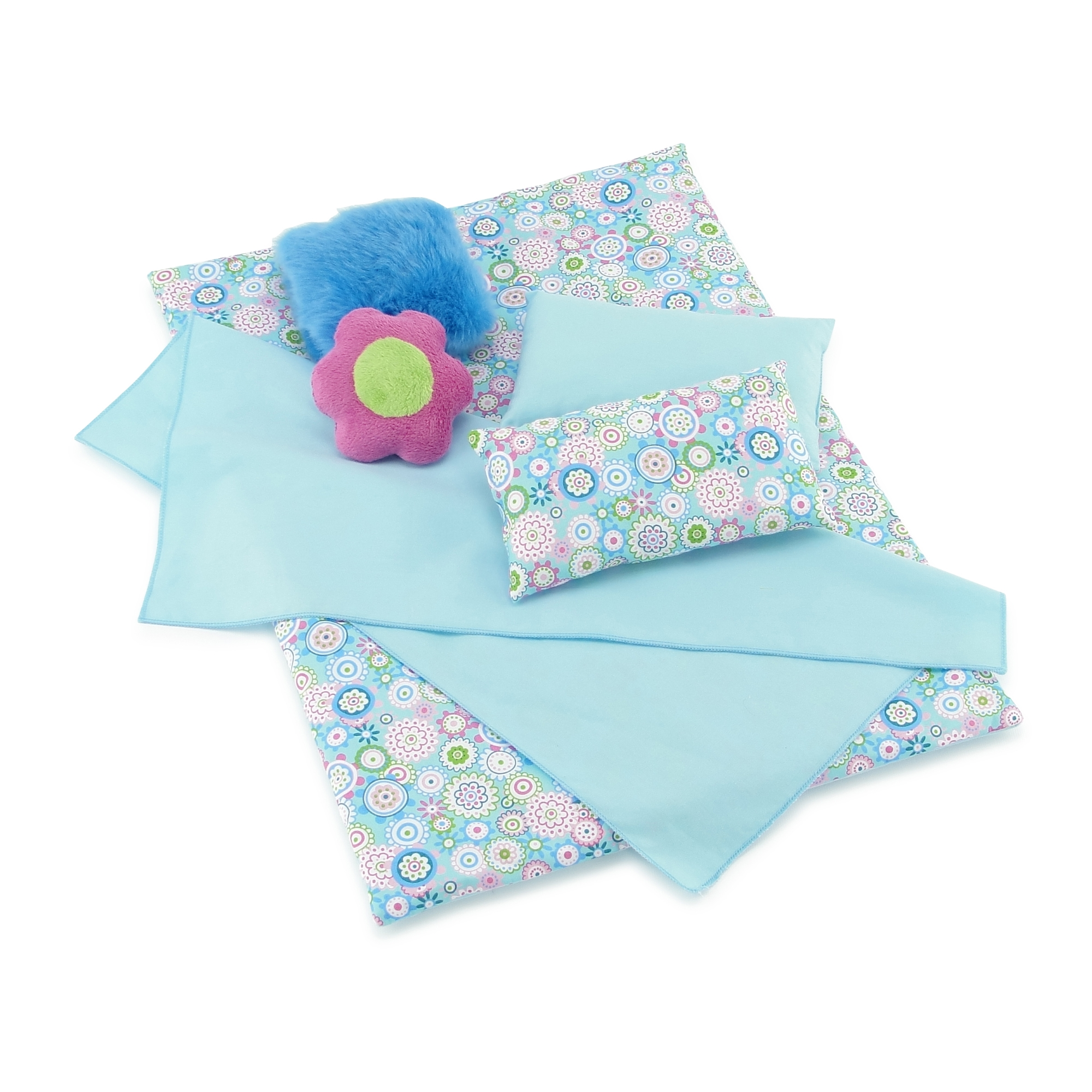 18 Inch Doll Bedding 2 Pc Set Reversible Print Doll Bedding Accessories with Comforter and Pillow Fits American Girl Dolls and Other 18 Inch Dolls