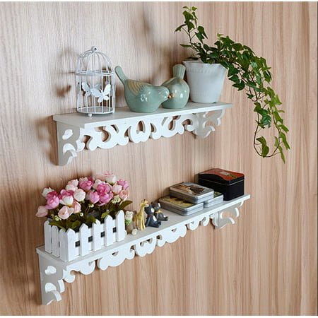 Set of 2 Floating wall shelves, Elegant White Decorative Wall Mounted Floating Storage Display / Book Shelf / Utility Rack