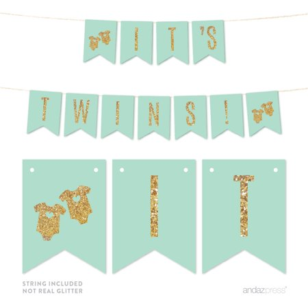 Mint Green Gold Glitter It´s Twins Pennant Party Banner for $<!---->