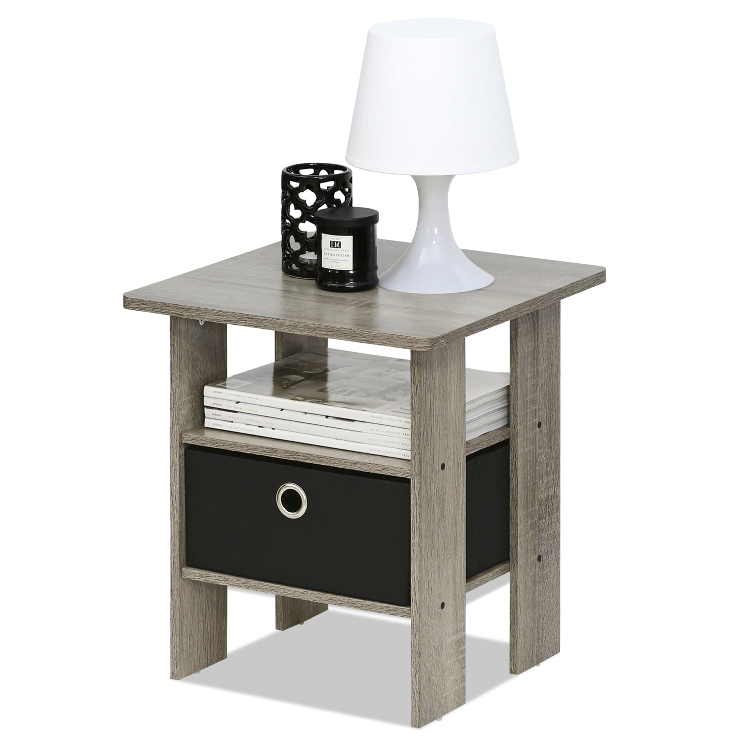 Petite End Table Bedroom Nightstand with Foldable Bin Drawer, Multiple Colors by Furinno