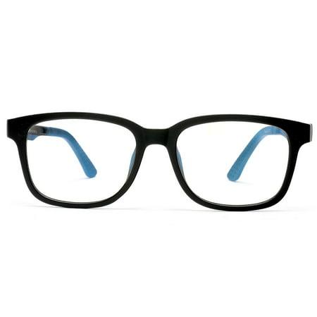 Blue Blockers Computer Screen Glasses Anti Glare and Anti Scratch Break Resistant High Flexibility TR90 Black - Black (Computer Screen Uv Blocker)