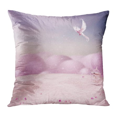 White Terrace (ECCOT Pink Fairy The Beautiful Rosa Terrace and Free Bird Tale Cage Birdcage Romantic White Pillow Case Pillow Cover 16x16 inch )