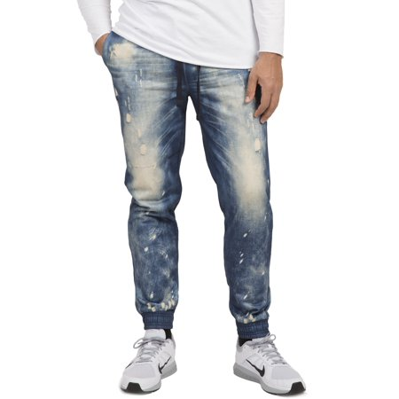 Vibes Men's Fleece Jogger Pants Distressed Denim Printed Elastic Cuff