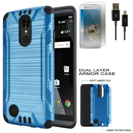 Phone Case For LG Rebel 3 L157BL L158VL Brush Dual-Layered Cover Film USB Cable (Combat Brush Blue-Black TPU / USB /