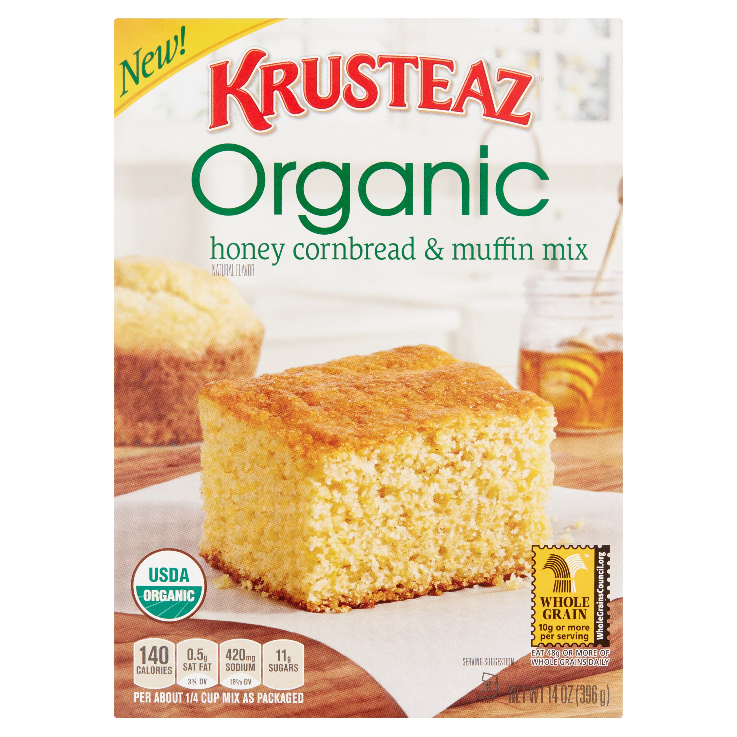 Krusteaz Organic Honey Cornbread & Muffin Mix 14 oz. Box by Continental Mills