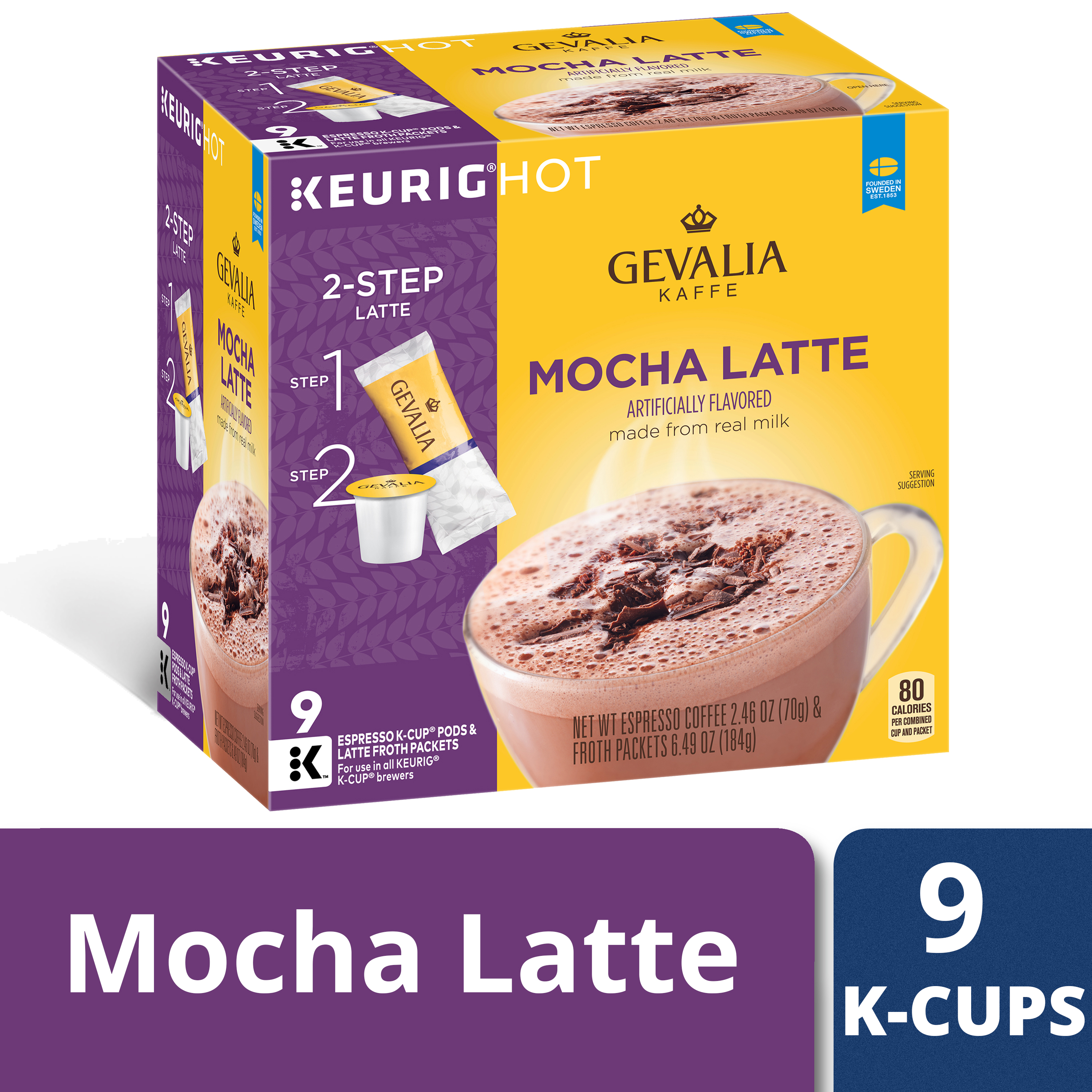 Gevalia Mocha Latte Espresso Coffee K-Cup Pods & Froth Packets 9 ct Box