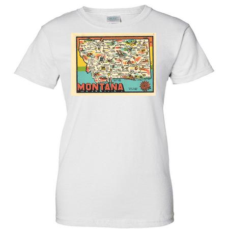Vintage Sticker Montana Ladies T Shirt