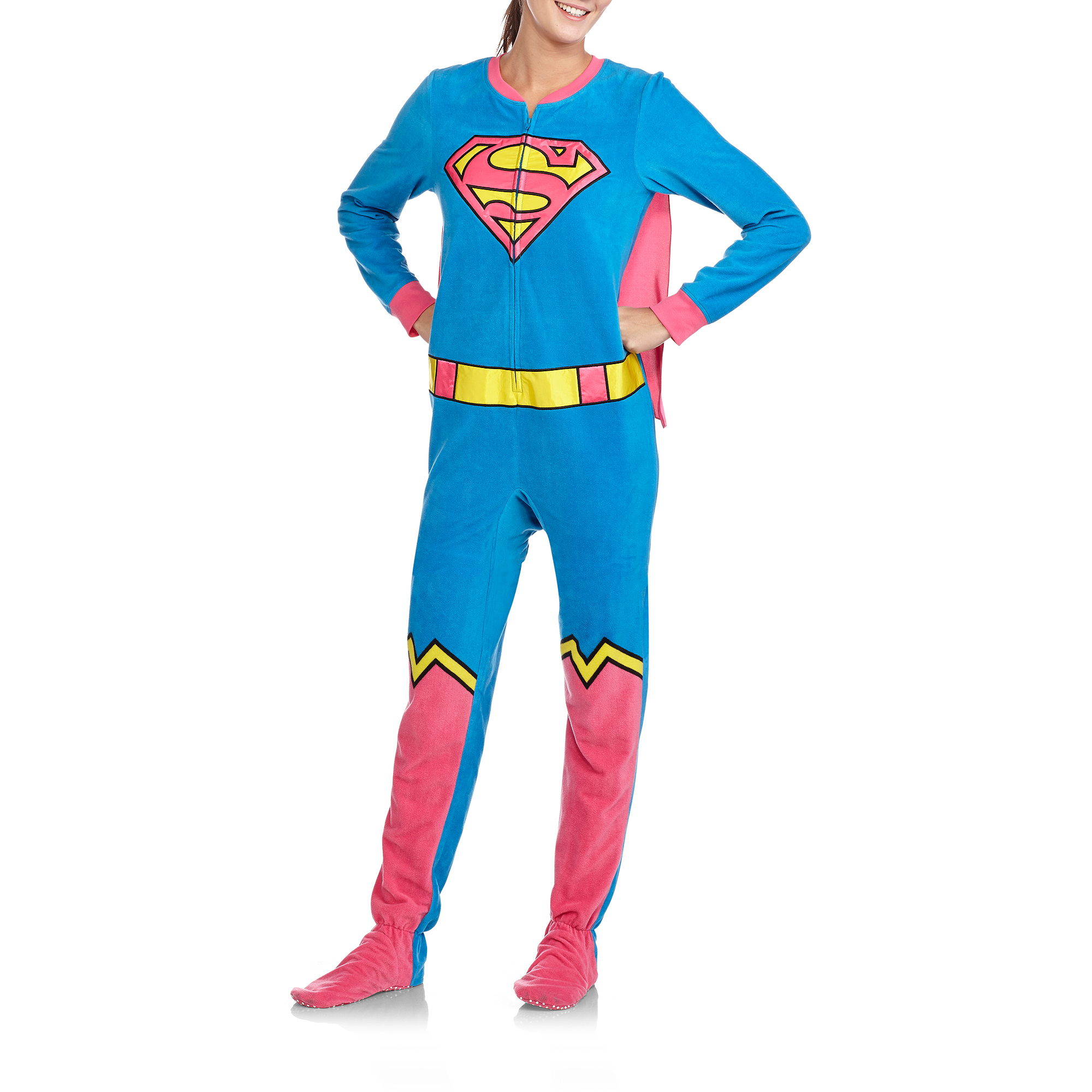 Juniors Supergirl One Piece Footed Pajamas with Cape - Walmart.com