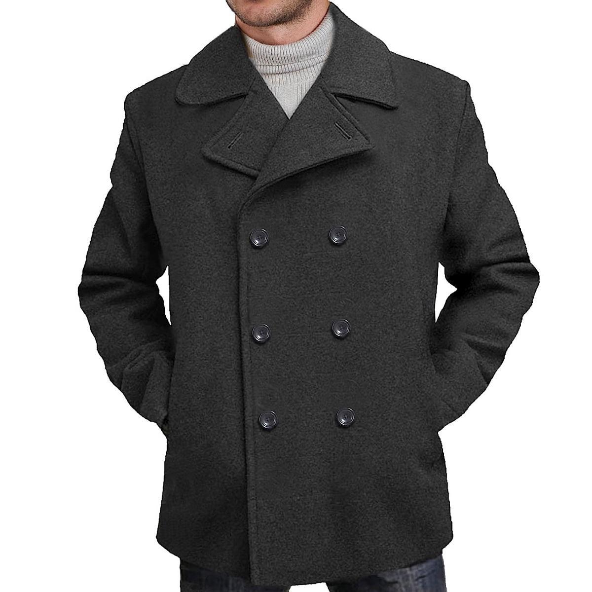 BGSD Men's 'Mark' Classic Wool Blend Pea Coat (Regular Bi...