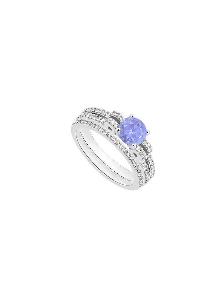 Created Tanzanite and Cubic Zirconia Engagement Ring with Cubic Zirconia Bands in 14K White Gold by Love Bright