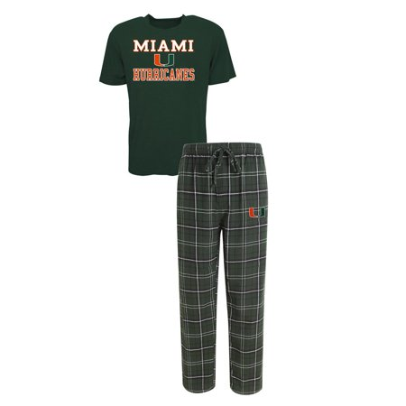 70faacf4b Concepts Sport - Men s University of Miami Hurricanes Pajama Pants and  T-Shirt Sleepwear Set - Walmart.com