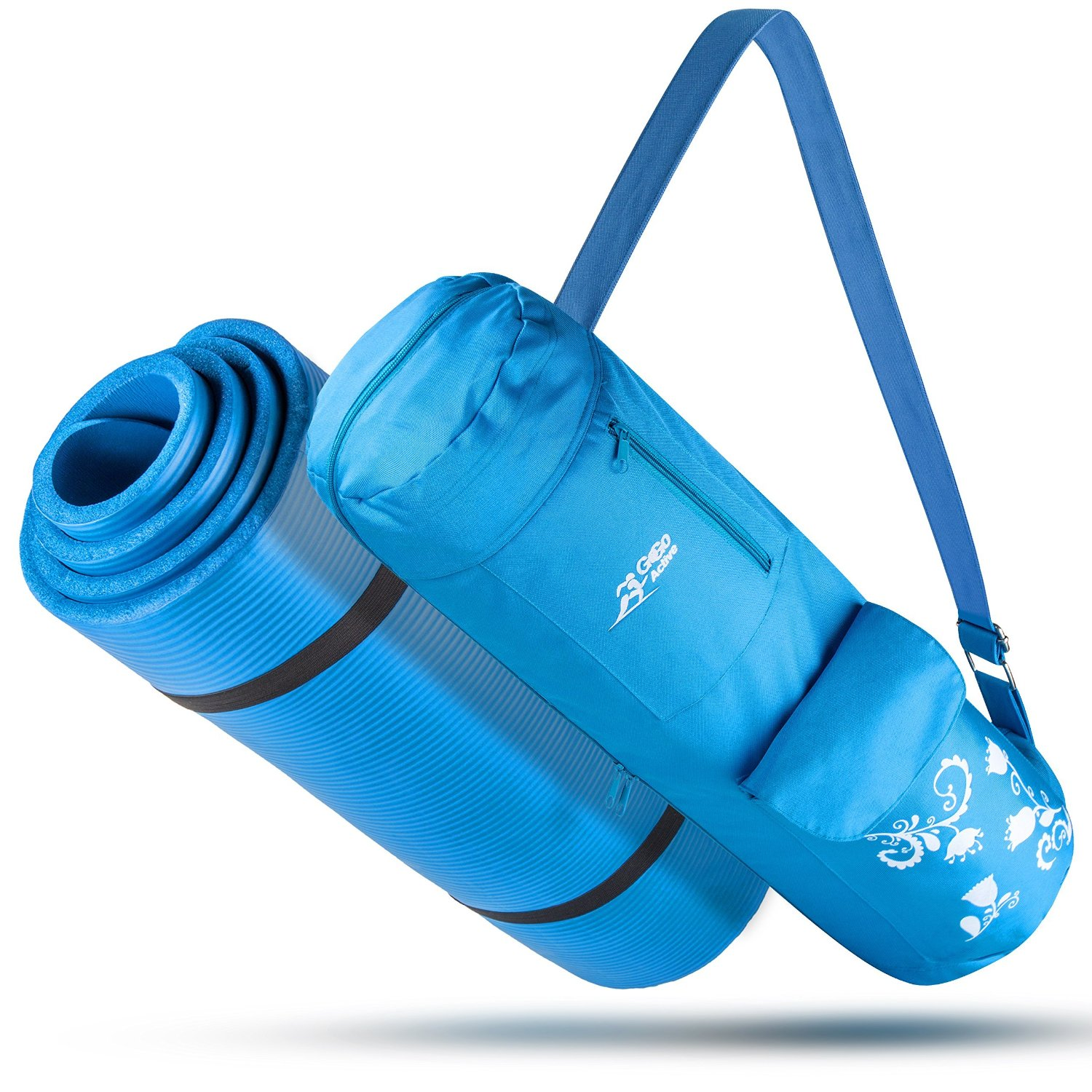 Yoga Mat With Carrying Strap & Matching Bag - Blue