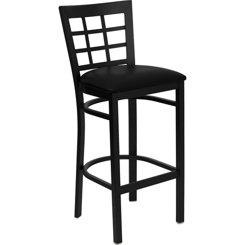 "Metal Window Back Bar Stool 31"", Black"