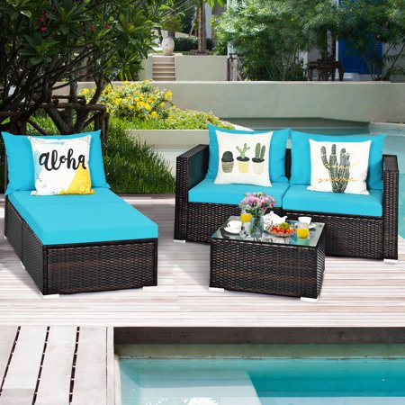 Gymax 5PCS Cushioned Rattan Patio Conversation Set w/ Coffee Table Ottoman - image 6 of 10
