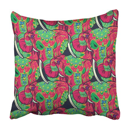USART Celebration Colorful Sugar Skull Elephant with Floral Circus Classic Costume Pillowcase 16x16