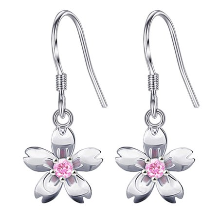 KABOER Special 1 Pair   Women`S  925 Sterling Silver Floral Earring Diamond  Flower Cherry Blossom  Hang Earring Cherry Quartz Flower Earrings