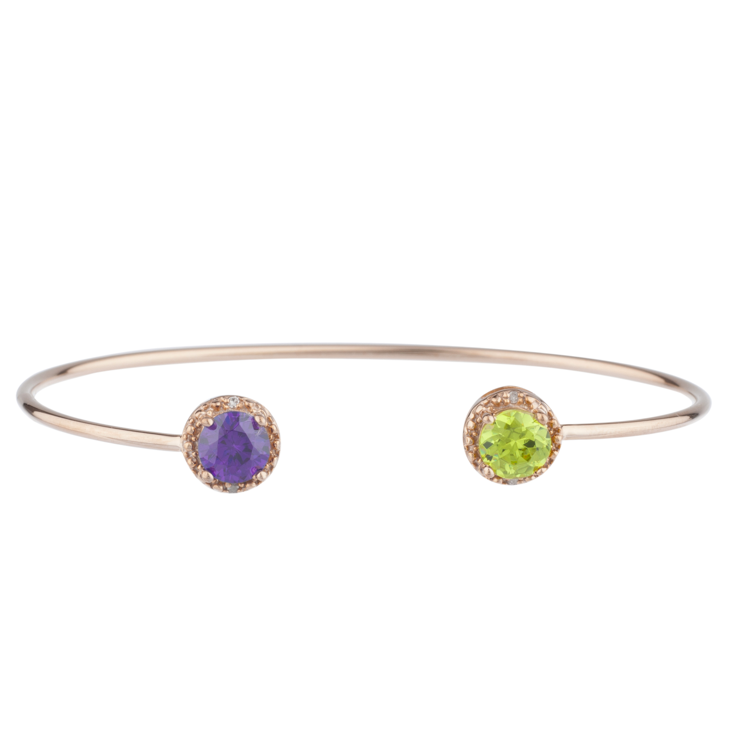 Amethyst & Peridot Diamond Bangle Round Bracelet 14Kt Rose Gold Plated Over .925 Sterling Silver by Elizabeth Jewelry Inc
