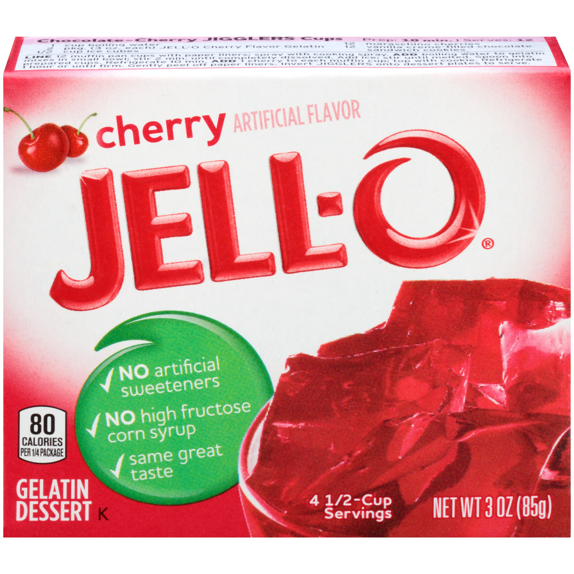 Jell-O Cherry Gelatin Dessert Mix 3 oz. Box